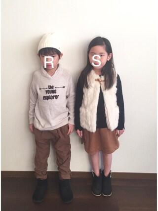 R♡Sさんの「レースアップフェイクスエードスカート(petit main プティマイン)」を使ったコーディネート