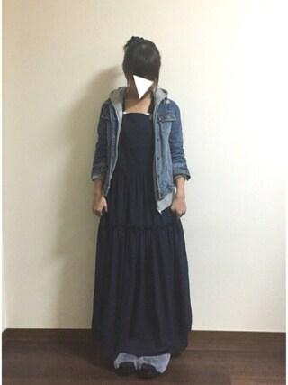 R♡Sさんの「サスペンダー付きマキシワンピース(31 Sons de mode トランテアン ソン ドゥ モード)」を使ったコーディネート