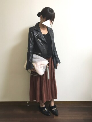 R♡Sさんの「レザーライダースジャケット(DRWCYS ドロシーズ)」を使ったコーディネート