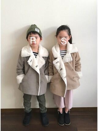 R♡Sさんの「フェイクムートンコート(BRANSHES ブランシェス)」を使ったコーディネート