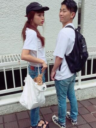 近藤千尋さんの「ACNE VISTA C BASE コットンジャージー Tシャツ(Acne Studios|アクネストゥディオズ)」を使ったコーディネート