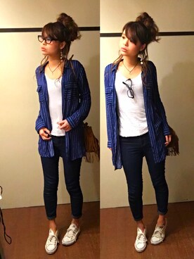 chingさんの「FOREVER 21 Classic Wash Skinny Jeans (Long)(Forever 21)」を使ったコーディネート