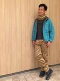 一海智博さんの「リバーネックウォーマー(AIGLE|エーグル)」を使ったコーディネート