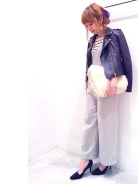 Sakurai Miuさんの「レザーライダースジャケット(UNRELISH|アンレリッシュ)」を使ったコーディネート