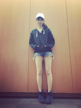 江野沢愛美 さんの「ダメージデニムブルマーショートパンツ/487386(JEANASIS|ジーナシス)」を使ったコーディネート