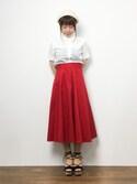 ノ  ン  タ  ンさんの「ファンタジアローン ちび衿 半袖シャツ(peu pres|プープレ)」を使ったコーディネート