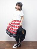 ノ  ン  タ  ンさんの「チューリップJQギャザースカート(peu pres|プープレ)」を使ったコーディネート