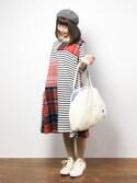 ノ  ン  タ  ンさんの「YOU+MORE! 脇腹をあたためてくれそうな クークートートバッグ(フェリシモキッズ|フェリシモキッズ)」を使ったコーディネート