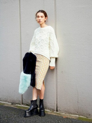 PAMEO POSE CONCEPT SHOP|PAMEO POSEさんの「MUTTON SLEEVE KNIT TOP(PAMEO POSE|パメオポーズ)」を使ったコーディネート