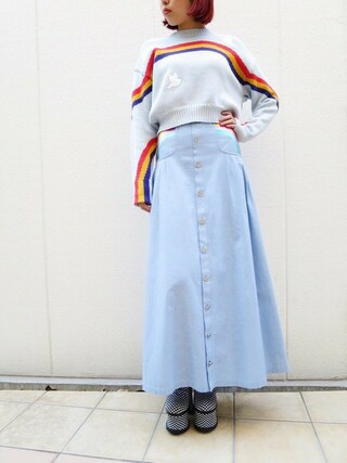 PAMEO POSE CONCEPT SHOP|PAMEO POSEさんの「RAINBOW EMBROIDERED LONG SKIRT(PAMEO POSE|パメオポーズ)」を使ったコーディネート