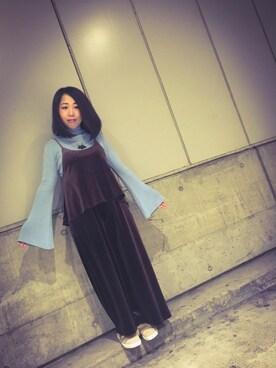 INTERPLANET WINGS 札幌パセオ店 じゅんさんの「ストレッチベロアワイドパンツ(actuel アクチュエル)」を使ったコーディネート