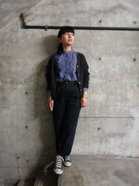 sayuri maedaさんの「2WAY ヤクVネック カーディガン(アダム エ ロペ ファム)」を使ったコーディネート