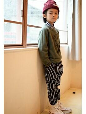MARKEY'S|MARKEY'Sさんのシャツ/ブラウス「ラグランスリーブスナップボタンシャツ(80〜120cm)(HOGAN RANCH WEAR|ホーガンランチウエア)」を使ったコーディネート