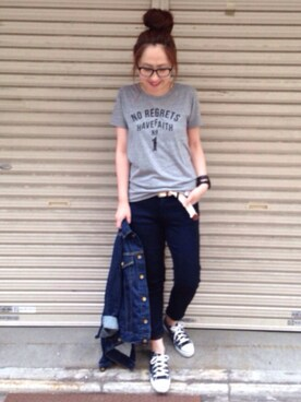 maiko さんの「Slogan T-Shirt(nano・universe|ナノユニバース)」を使ったコーディネート