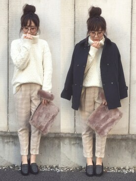maiko さんの「【予約】 Couture-line(クチュールライン)アラン柄タートルニットプルオーバー(nano・universe)」を使ったコーディネート