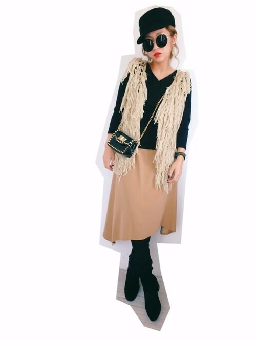 CANNYさんの「切替配色スカート(GRACE CONTINENTAL)」を使ったコーディネート