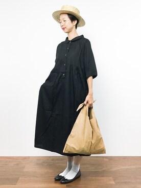 ZOZOTOWN|motoko yamamotoさんの「【PLAIN CLOTHING】シャツロングワンピース(PLAIN CLOTHING)」を使ったコーディネート