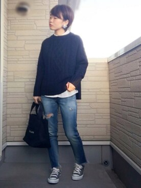 aaachan♡*さんの「パールとフラワーブーケのバックキャッチピアス(Ane Mone|アネモネ)」を使ったコーディネート