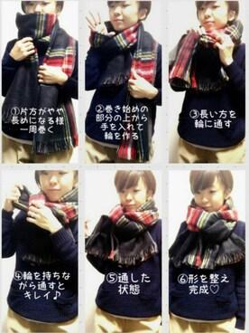 aaachan♡*さんの「U ダブルフェイスチェックマフラー(SEVENDAYS=SUNDAY)」を使ったコーディネート