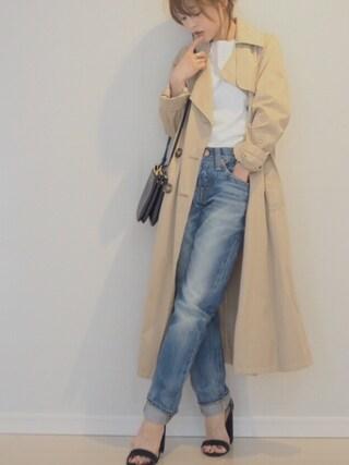 田中亜希子さんの「HOMME COAT◆(Deuxieme Classe|ドゥーズィエムクラス)」を使ったコーディネート