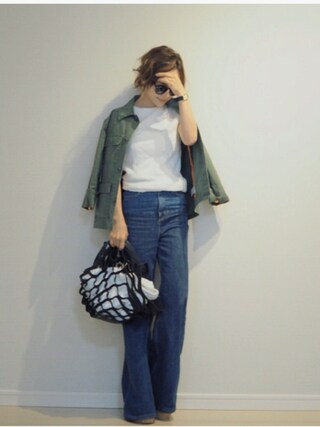 田中亜希子さんの「ミリタリージャケット(THE SHINZONE|ザ シンゾーン)」を使ったコーディネート