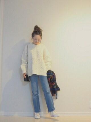 田中亜希子さんの「CLANE/クラネ/PATCHWORK CABLE KNIT(CLANE|クラネ)」を使ったコーディネート