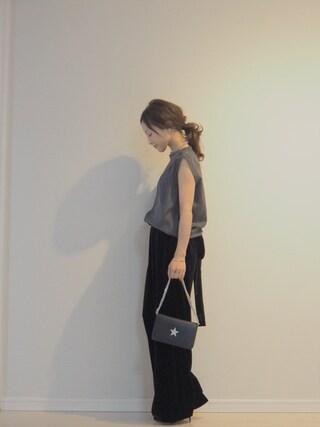 田中亜希子さんの「ベロアサスペンダーツキパンツ◆(Spick & Span|スピック&スパン)」を使ったコーディネート