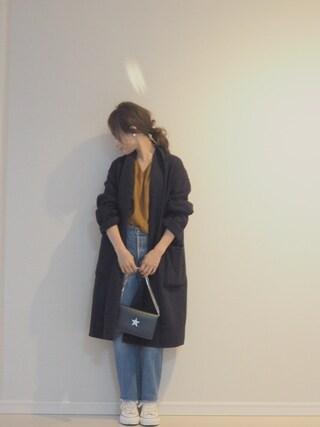 田中亜希子さんの「【WEB限定】STUDIOUS Vネックドロップショルダーニット 【追加予約】(STUDIOUS ステュディオス)」を使ったコーディネート