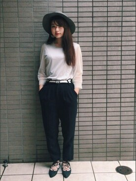 三橋栄香さんの「603 袖シースルーTシャツ(603)」を使ったコーディネート