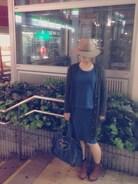 デニム風スウェットのセットアップ♩  バッグもデニム地なのでやたら青い。笑  小物で秋らしく。。。
