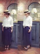 私のシンプルコーデに帽子は不可欠。  リネンシャツ×スウェットスカート��