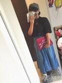 なりみいさんの「5.5ozウエストRIBデニムマキシ丈スカート(w closet ダブルクローゼット)」を使ったコーディネート