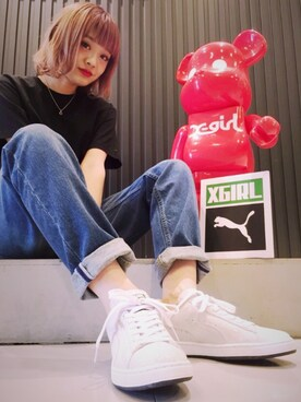 XLARGE/X-girl 梅田|みい はるかさんの「X-girl×PUMA SUEDE WHITE PACK(X-girl)」を使ったコーディネート