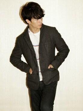 ONE DAY KMC|にっしーさんの「hardcover/TWEED中綿ジャケット(hardcover)」を使ったコーディネート