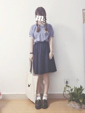 mmk♡さんの「レーヨンリヨセルペタルカラーパフ袖ブラウス(POU DOU DOU)」を使ったコーディネート