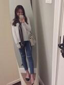 「Topshop Moto 'Jamie' Ripped Skinny Jeans (Mid Denim) (Tall)(Topshop)」 using this 丁大贝 looks