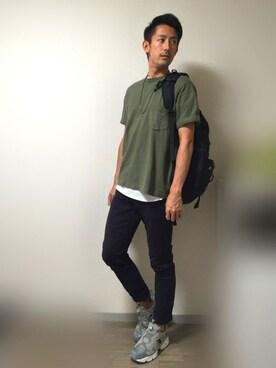 Masaさんの「MEN ビッグシルエットポケ付きT(半袖)(UNIQLO|ユニクロ)」を使ったコーディネート