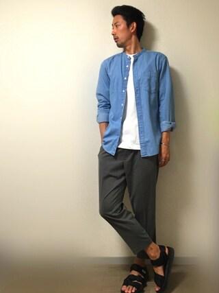 「MEN エクストラファインコットンブロードスタンドカラーシャツ(ストライプ・長袖)(ユニクロ)」 using this Masa looks