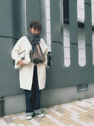 田中里奈さんの「ノーカラー ウールコート(Shinzone|シンゾーン)」を使ったコーディネート