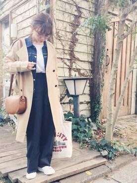 田中里奈さんの「ノーカラートレンチコート(mysty woman|ミスティウーマン)」を使ったコーディネート