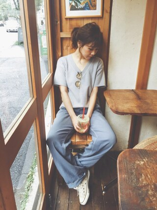 田中里奈さんの「Vネック半袖トップス(fifth|フィフス)」を使ったコーディネート
