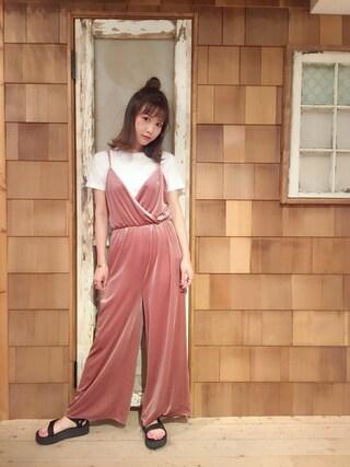 「【HANES】 ジャパンフィットクルーネック2P(2枚組)(HANES)」 using this 田中里奈 looks