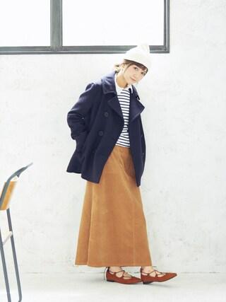 田中里奈さんの「【TOPSIDER】ウールPコート(TOP-SIDER|トップサイダー)」を使ったコーディネート
