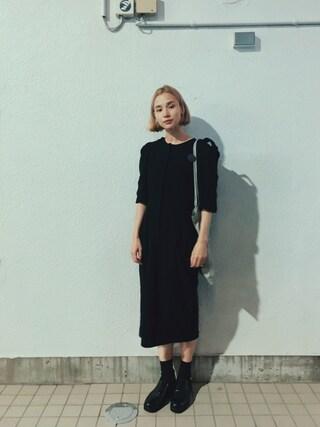 珠里亜さんの「SQUARE CUTSEWN DRESS -WOMEN-(ANREALAGE|アンリアレイジ)」を使ったコーディネート