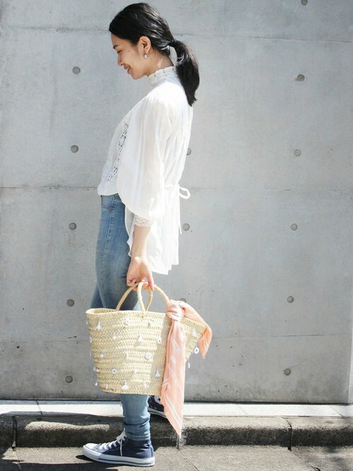 EDIT. FOR LULU 青山店|Ayakoさんのシャツ/ブラウス「コットンリネン ローン ハイネック レースブラウス◆(EDIT. FOR LULU|エディットフォールル)」を使ったコーディネート