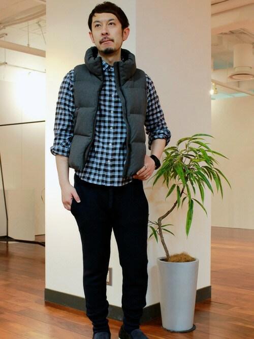 ダウンベスト着こなしメンズのシャツ/ブラウス「BARNYARDSTORM BARNYARDSTORM/ M/チェックネルシャツ」を使ったコーディネート