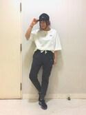 Saoriさんの「【X-girl sports】TWILL BASEBALL CAP /スポーツグッズ/運動用/普段使い/ランニング/ジョギング/キャップ(X-girl|エックスガール)」を使ったコーディネート