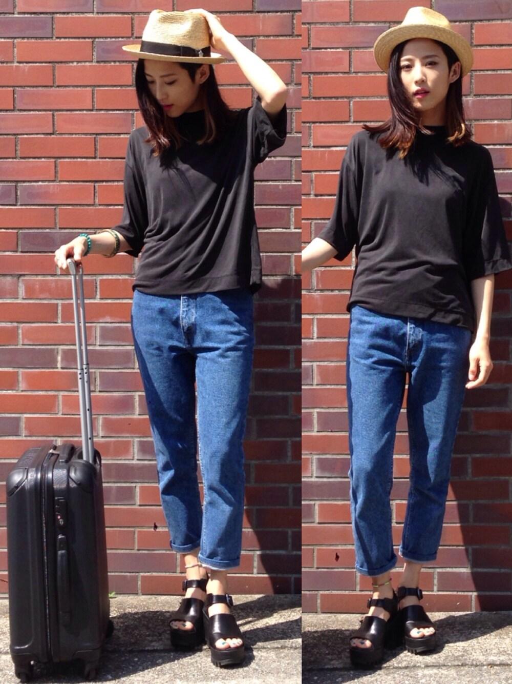 大人かっこいい黒×スーツケース