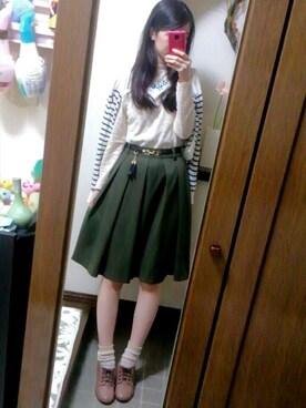 Ayanoさんの「ベルト付きミディ丈スカート(PAGEBOY)」を使ったコーディネート