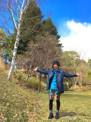 """ゆーまさんの「Tadanori Yokoo × BOHEMIANS(ボヘミアンズ)  NYLON SHORTS """"Yokoo Map""""  (4)(BOHEMIANS ビーバー)」を使ったコーディネート"""